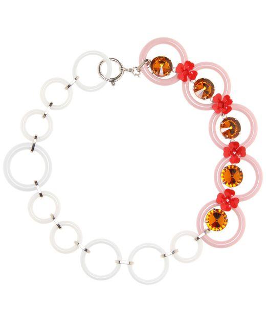 Marni | Pink Embellished Floral Necklace | Lyst
