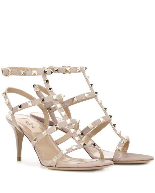 Valentino | Gray Garavani Rockstud Leather Sandals | Lyst