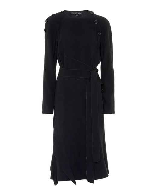 Proenza Schouler - Black Crêpe Midi Dress - Lyst