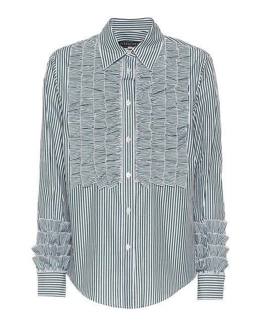 AlexaChung - Green Ruffled Cotton Shirt - Lyst
