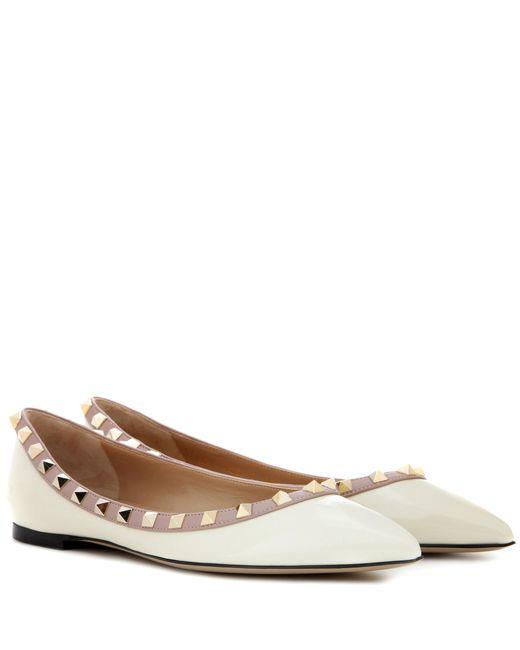 Valentino - White Rockstud Leather Ballerinas - Lyst