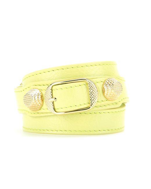 Balenciaga | Yellow Giant Leather Bracelet | Lyst