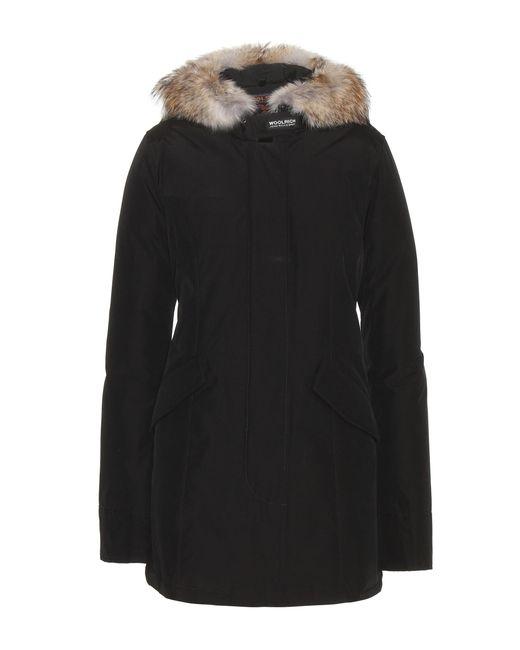 Woolrich   Black Arctic Parker Coat With Fur Trim   Lyst