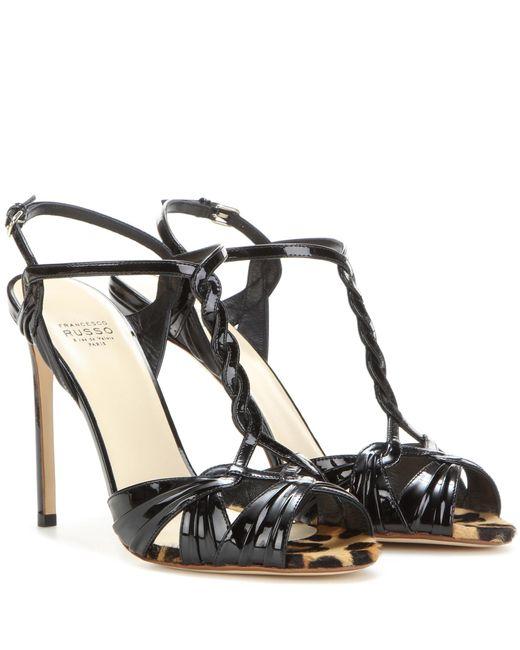 Francesco Russo   Black Patent Leather Sandals   Lyst