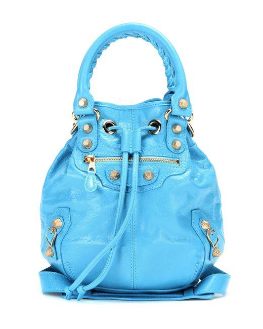 Balenciaga | Blue Giant Mini Pompon Leather Shoulder Bag | Lyst