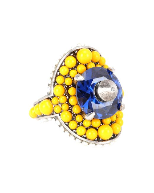 Gucci | Yellow Crystal And Bead-embellished Ring | Lyst