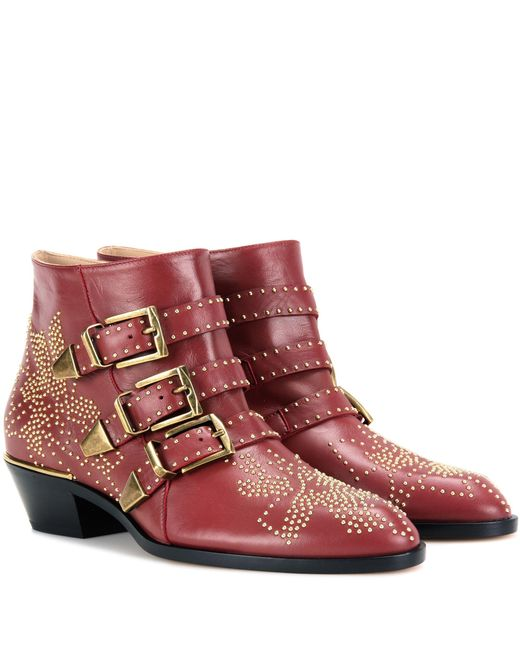 Chloé | Red Susanna Leather Ankle Boots | Lyst