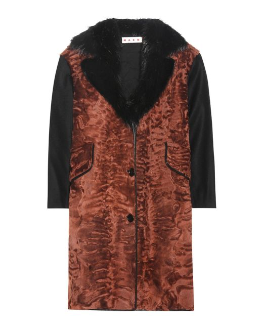 Marni | Brown Wool And Fur-blend Coat | Lyst