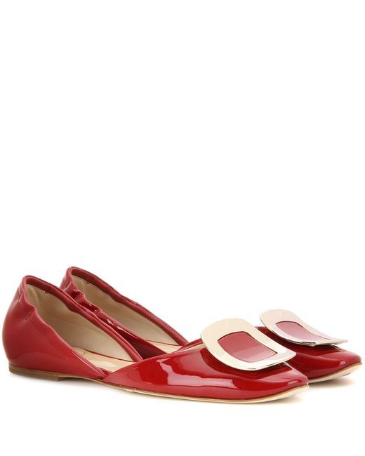 Roger Vivier | Red Chips Patent Leather Ballerinas | Lyst