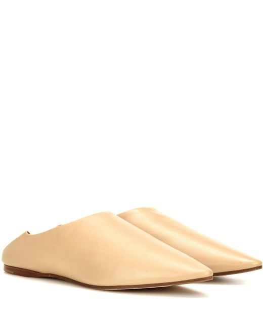 Acne | Natural Amina Leather Babouche Slippers | Lyst