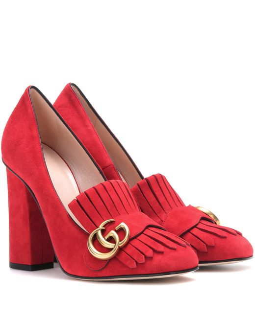 Gucci | Red Suede Loafer Pumps | Lyst