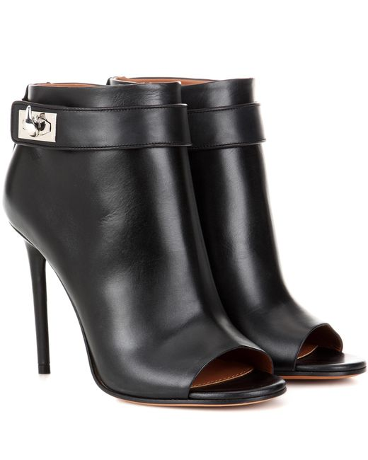 givenchy shark leather peep toe ankle boots in black lyst