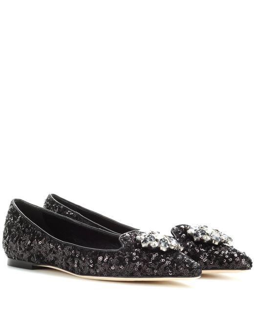 Dolce & Gabbana | Black Crystal-embellished Sequinned Ballerinas | Lyst