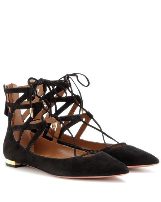 Aquazzura | Black 'belgravia' Ballerinas | Lyst