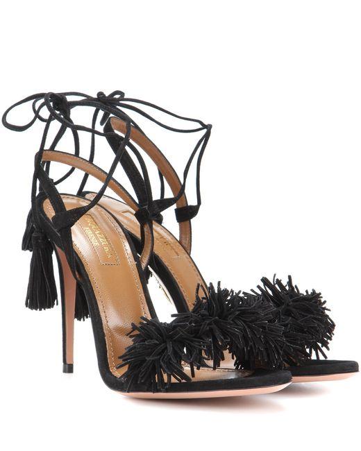 Aquazzura | Black Wild Thing Suede 105mm Sandal | Lyst
