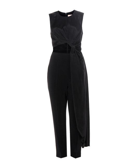 ROKSANDA | Black Thurloe Cut-out Jersey And Crêpe Jumpsuit | Lyst