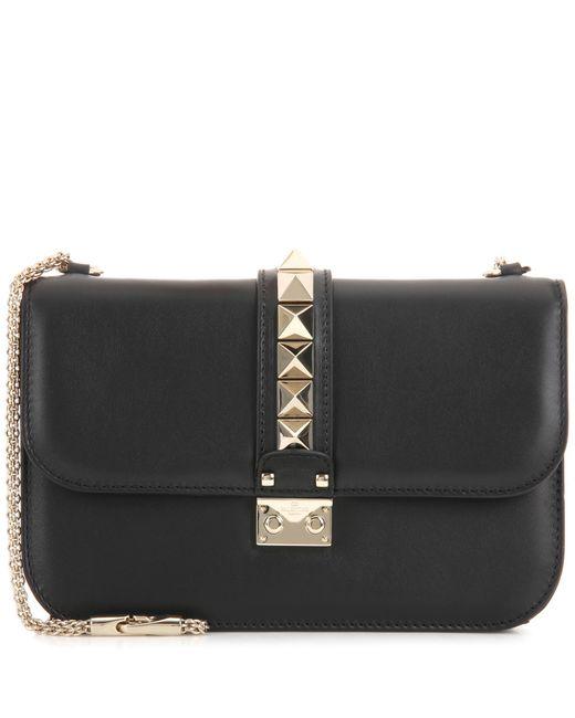 valentino garavani lock medium leather shoulder bag in black save 9 lyst. Black Bedroom Furniture Sets. Home Design Ideas