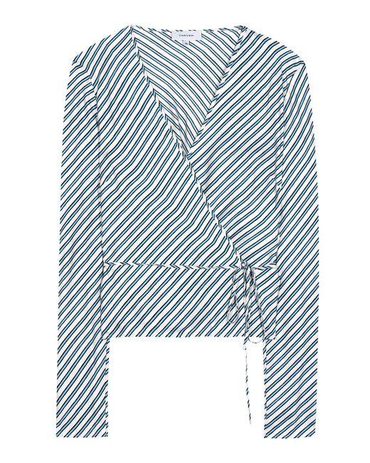 Carven | Blue Striped Silk Blouse | Lyst