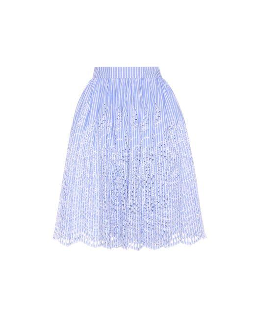 Miu Miu | Blue Embroidered Cotton Skirt | Lyst
