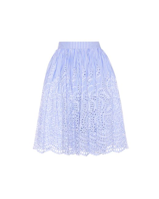Miu Miu | Blue Embroidered Cotton Skirt | Lyst