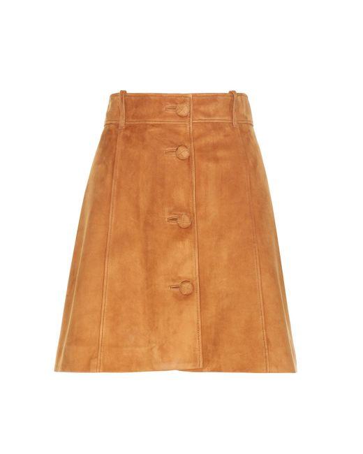 Miu Miu | Natural Suede A-line Skirt | Lyst