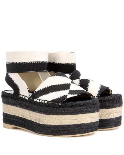 Stella McCartney   Black Striped Espadrille Platform Sandals   Lyst