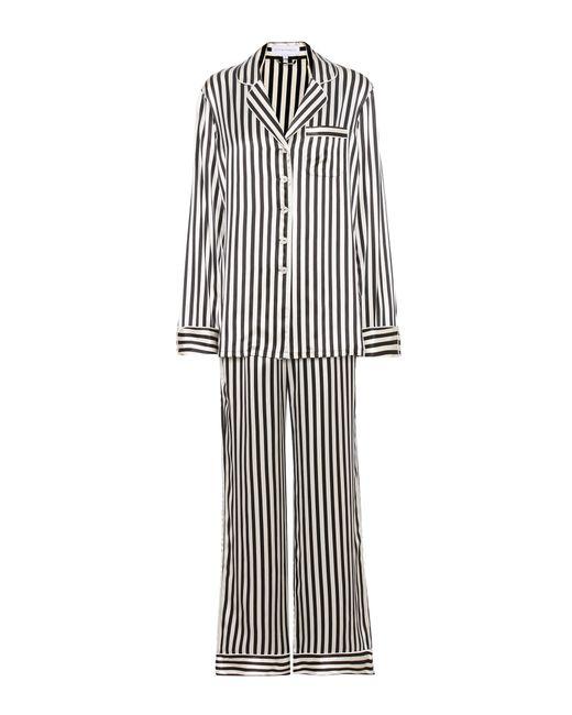Olivia Von Halle | Black Lila Nika Striped Silk Pyjama Set - Size 4 | Lyst