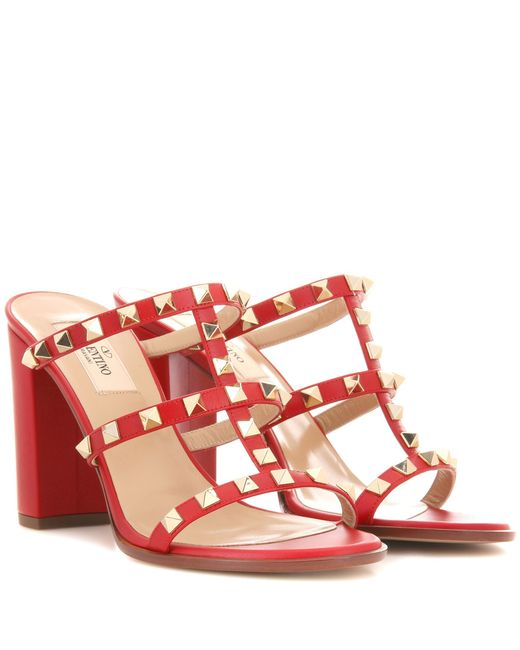 Valentino | Red Garavani Rockstud Leather Sandals | Lyst