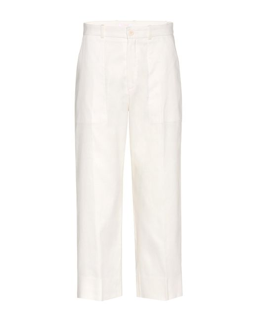Chloé | White Linen And Cotton Cropped Trousers | Lyst
