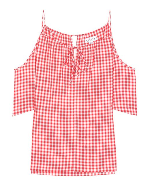 Velvet | Red Nedra Gingham Cold-shoulder Top | Lyst