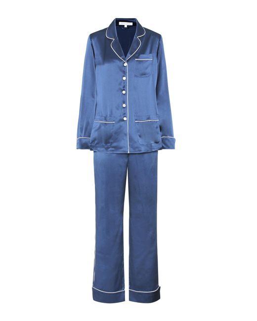 Olivia Von Halle   Blue Silk Pyjama Suit   Lyst