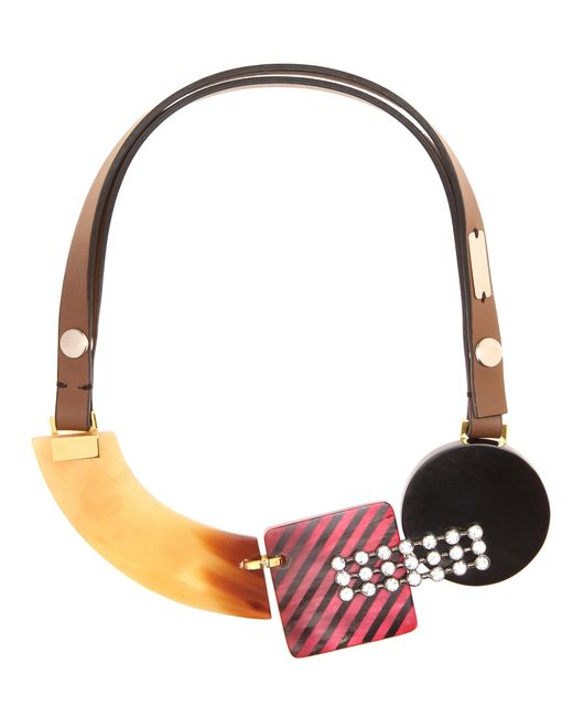 Marni | Red Crystal-embellished Necklace | Lyst