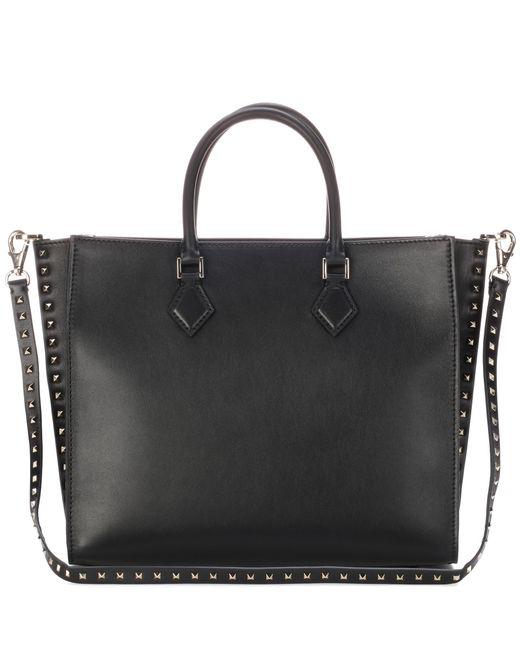 Valentino   Black Garavani Rockstud Leather Tote Bag   Lyst