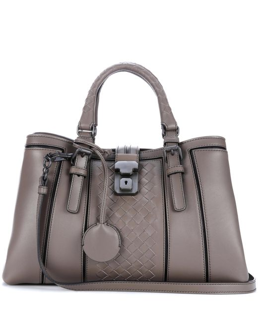 Bottega Veneta | Gray Small Roma Intrecciato Leather Tote | Lyst