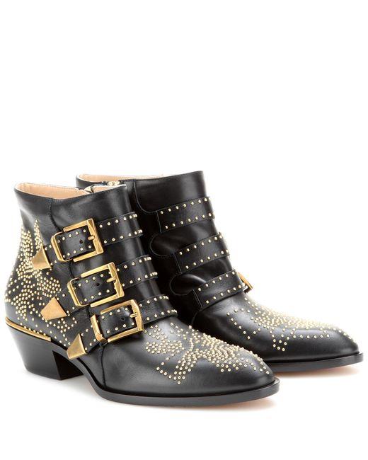 chlo boots susanna nappa leather black rivets gold in black save 2 lyst. Black Bedroom Furniture Sets. Home Design Ideas