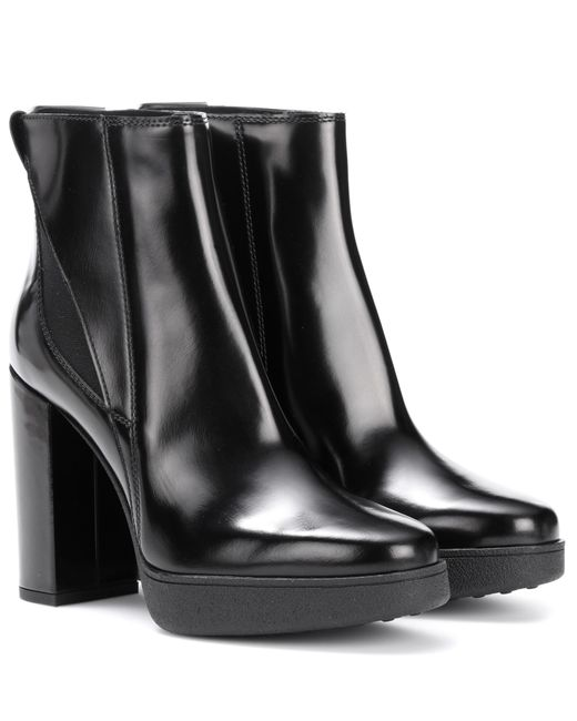 tod 39 s leather plateau ankle boots in black lyst. Black Bedroom Furniture Sets. Home Design Ideas