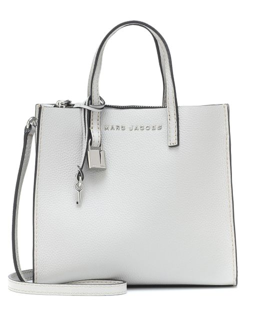 e9dd59c7aaeb9 Marc Jacobs The Mini Grind Leather Tote in Gray - Save 51% - Lyst