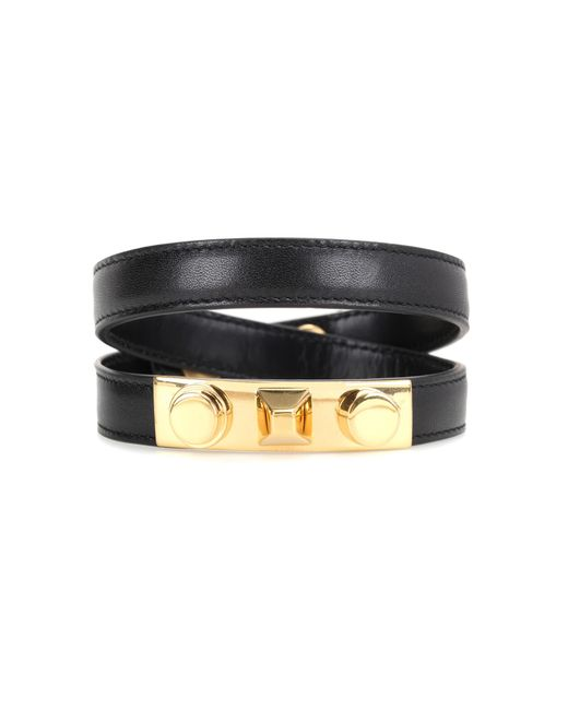 Saint Laurent - Black Studded Leather Bracelet - Lyst