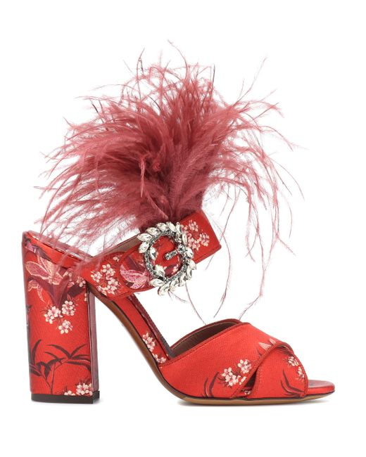 007af4dca9c ... Tabitha Simmons - Red X Johanna Ortiz Reyner Feather-trimmed Sandals -  Lyst ...