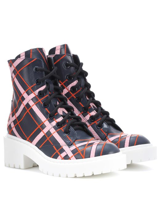 KENZO | Blue Plaid Leather Ankle Boots | Lyst