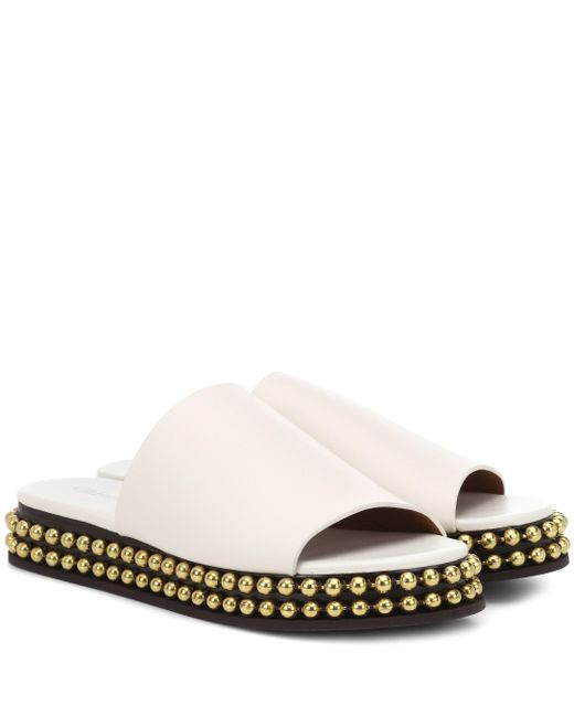 Chloé - White Embellished Leather Slides - Lyst