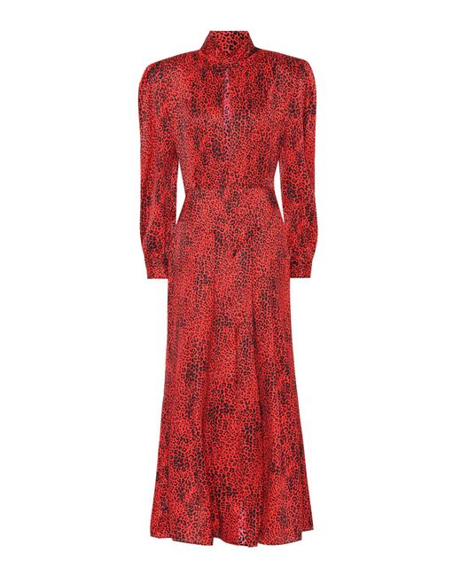 Alessandra Rich - Red Leopard Silk Jacquard Dress - Lyst