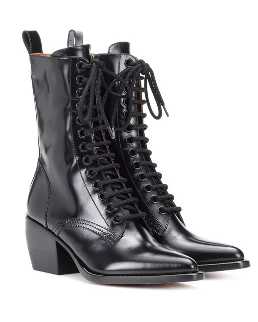 Bottines en cuir Chloé en coloris Black