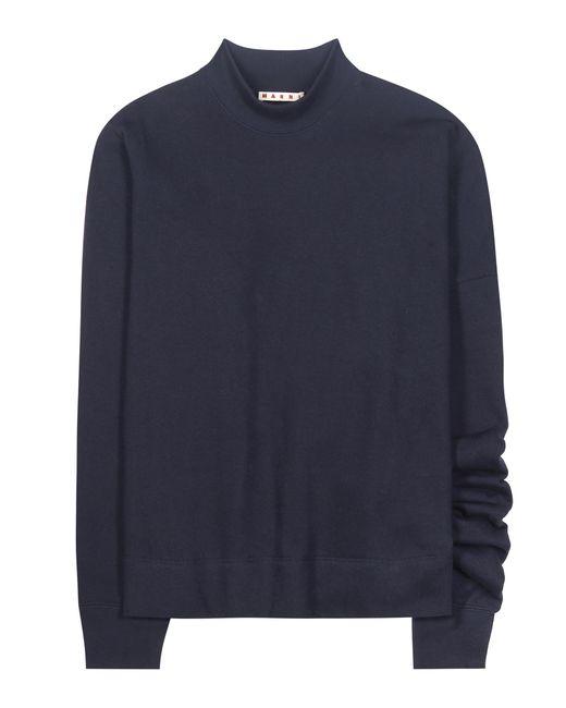 Marni - Blue Asymmetrical Cotton Sweatshirt - Lyst