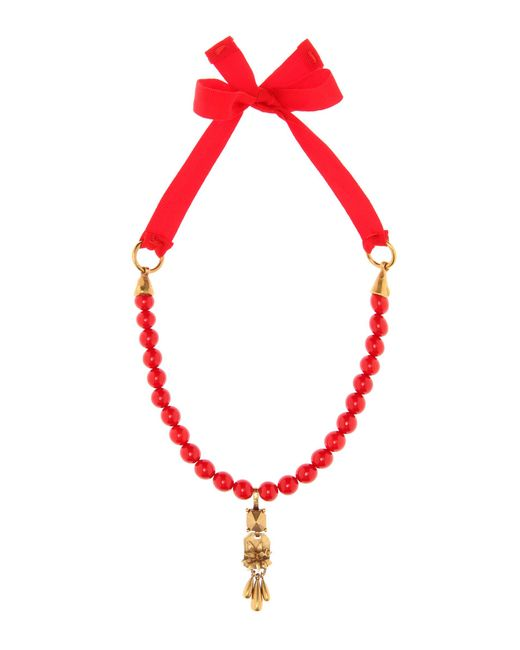 Valentino - Red Beaded Necklace - Lyst