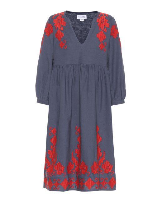 Velvet Blue Jora Cotton And Linen Dress