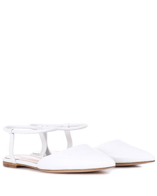 Gianvito Rossi - White Hedy Leather Ballerinas - Lyst