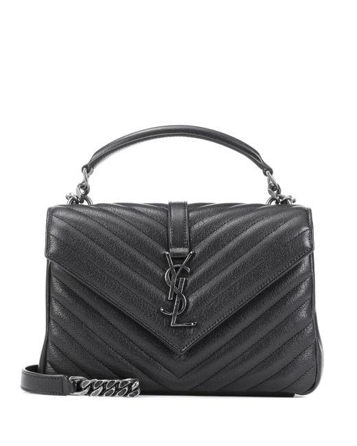 Saint Laurent - Black Classic Monogram Quilted Leather Shoulder Bag - Lyst