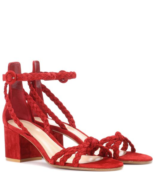 Gianvito Rossi - Red Liya Suede Sandals - Lyst