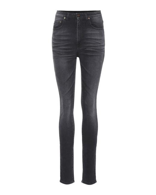 Saint Laurent - Black High-waisted Skinny Jeans - Lyst
